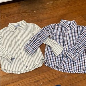 Lot of 2 long sleeve button-down collar shirts